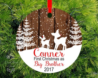 2017 Christmas Ornament Big Brother Little Sister Personalized First Christmas as Big sister Fawn Ornament Big Sister Gift