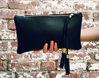 Black Genuine Leather Zipper Clutch- Leather Handbag- Large Leather Pouch- Leather Bag with double tassel. Leather pouch.