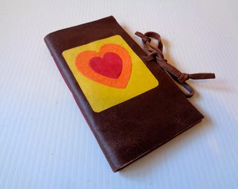 Red Heart Leather Notebook Handmade- love-anniversary-birthday, valentine's-christmas-best friend gift- mother's day