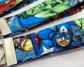 Key Fob - Key Wristlet - Made from Marvel Captain America Iron Man Hulk Black Widow fabric - Gift for Teacher, Dad, Mom, Pet Sitter,Friend