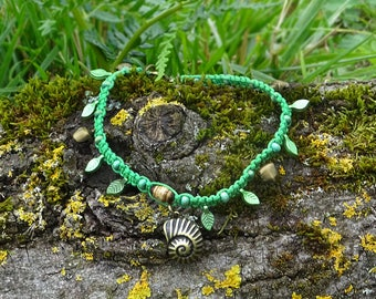 Green anklet with leaf pendants, bronze bells and a bronze snail shell pendant ~ handmade OOAK summer jewelry