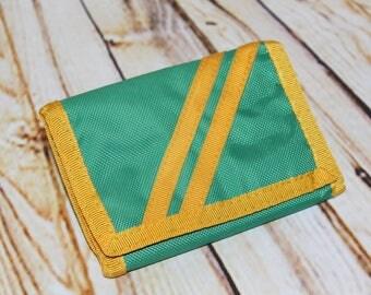 True Vintage '70s '80s Green Yellow Nylon Diagonal Stripe Tri-Fold Nylon Velcro Money Wallet C4
