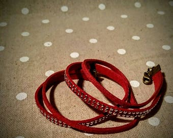 red double bracelet and rhinestones and suede