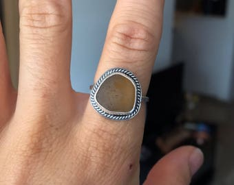 Brown Sea Glass Ring; Sterling Silver; Size 7; Boho
