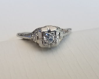 Vintage Diamond Filigree Ring (size 5.75)