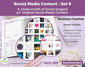 Social Media Images - Content General Business & Coaches (SET 8) -- 57+ original images, blank planner pages, checklists, tasks, and goals