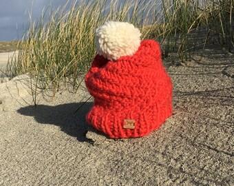 100% hand knitted merino wool hat
