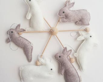 Bunny Mobile - gentle little bunnies enjoying their silflay - a perfect addition to a nursery or child's bedroom.