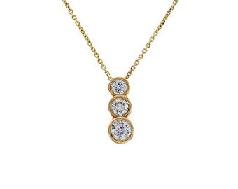 0.85 Carat Round Diamond Three Stone Drop Pendant on Cable Link Chain 14K Yellow Gold