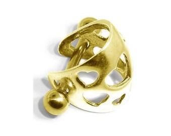 14K Yellow Gold Hearts Ear Cuff Cartilage Earring
