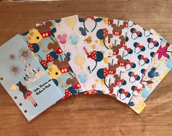 Disney inspired planner dividers. Available for pocket, personal, A5, recollections, day planner. Dashboard with 6 tabbed dividers.