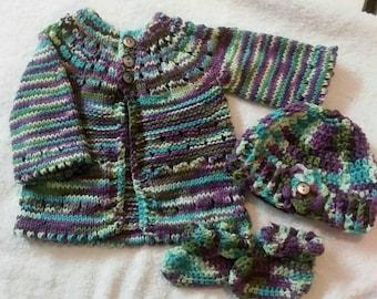Hand Knit Sweater Set 0-3 Months