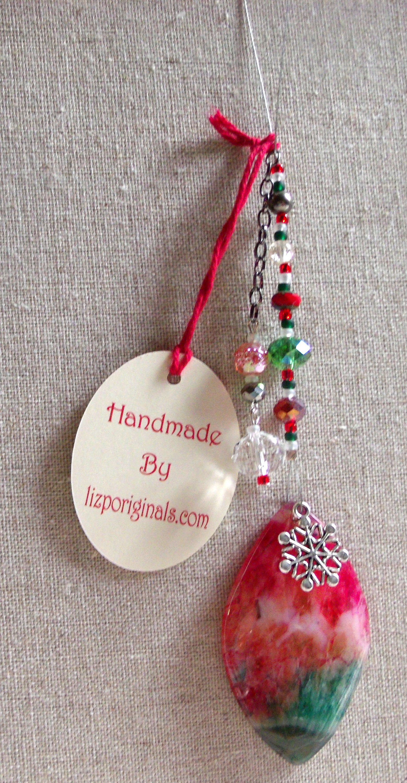Christmas gemstone ornament green tree agate pendant