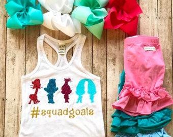 Trolls girls tanktop - trolls shirt - girls Trolls tank - troll party top - Trolls - poppy tank top