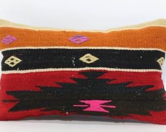 Decorative Kilim Pillow Haandwoven Kilim Pillow Home Decor Cushion Cover 12x20 Lumbar Pillow Cover Boho Kilim Pillow SP3050-1234
