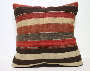 vintage turkish handwoven kilim pillow 24x24 inches anatolia kilim pillow decorative pillow boho pillow striped pillow cover SP6060-1410