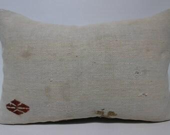 Anatolian Kilim Pillow White Kilim Pillow 16x24 Lumbar Kilim Pillow Turkish Kilim Pillow Handwoven Kilim Pillow Cushion Cover  SP4060-1216