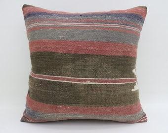 Faded Kilim Pillow 20x20 Green Kilim Pillow Pink Pillows Geometric Pillows Boho Pillow 20x20 Turkish Pillows Throw Large Cushion SP5050-2638