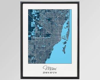 Miami Florida Map, Miami City Map Print, Miami Map Poster, Miami Wall Art gift, Custom city, Personalized map