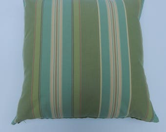 Sage green and aqua stripe with a hint of red. pillow cover,Cotton and polyester.