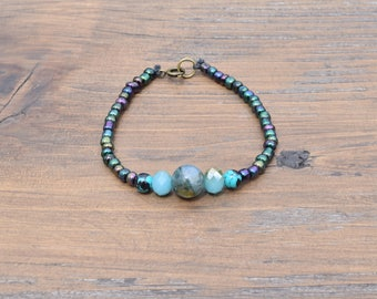 Jasper and turquoise beaded bracelet