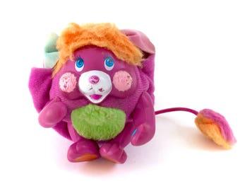 "Vintage Popples Pancake Pocket Popple Mini Purple Plush 1985 3"" Plushie Stuffed Animal Original Kawaii 80s Retro Mattel Agc Small Kitsch Htf"