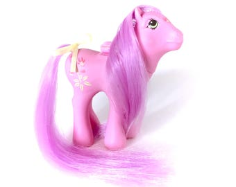G1 My little Pony Lily  Flutter Vintage 1986 Purple Pink Hair Flowers Ribbon MLP Winged Butterfly Original Ponies 80s 1980s Hasbro Custom