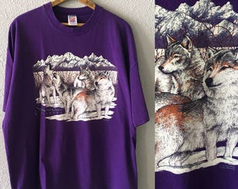 Vintage Snowmass Colorado 1993 1990's 90's Purple Wolf Wolves Graphic T Shirt