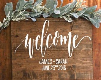 Wedding Welcome Wood Sign - Custom Wood Wedding Welcome Sign - Rustic Bride - Rustic Wedding - Hand Painted - Country Wedding Wedding Decor