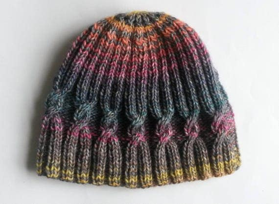 Handknit beanie hat. Large knit beanie. Original design. Cable knit hat. Made in Ireland. Men's knit beanie. Women's knit beanie. Multicolor