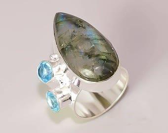 E1  Blue Fire Labradoride Blue Topaz Beautiful Handmade Design .925 Sterling Silver Plated Jewelry Rings