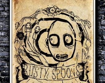 Vintage Rusty Spoons - A4 Signed Art Print (Inspired by Salad Fingers)
