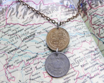 Nepal coin necklace/keychain - 2 different designs - made of original coins from Nepal - Himalaya - mountains - Mount Everest