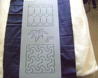Sashiko Japanese Quilting/Embroidery Stencil 5.5 in. Tortoise Shell, Maple Leaf and Plover /Quilting/164