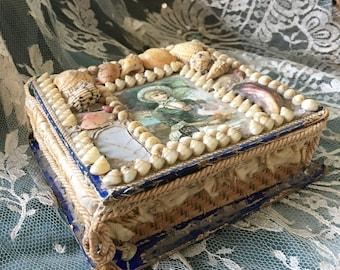 18th. Century Rare Sailor's Sea Shell Box Memento Work Valentine Art Human Hair
