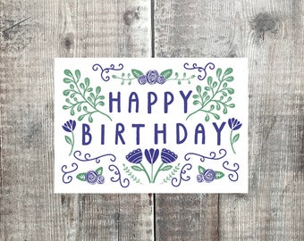 Happy Birthday card - Folk card - Birthday card - Flower pattern card