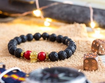 8mm - Black lava stone and red coral beaded stretchy bracelet with gold skull , made to order bracelet, mens bracelet, womens bracelet