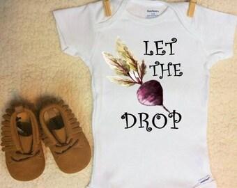 Vegetable Onesie ®, Beet Onesie ®, Funny Onesie ®, Drop The Beet Onesie ®, Vegetable Garden Onesie ®, Vegetable Baby, Funny Baby Onesie®