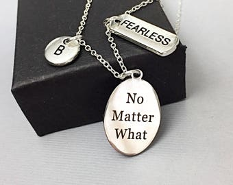 Friend necklace, fearless necklace, fearless word charm, personalized necklace, initial necklace, inspirational, fearless