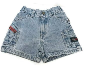 vintage Baby Cargo Denim Shorts wash Blue Denim Size 18