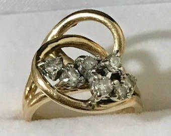 14K Yellow Gold Swirl RIng 0.35 CTW  Diamond  Weight  5.6 Grams Size 5 Vintage Estate Ring