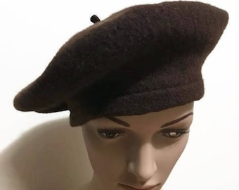 Vintage Brown Beret Made of Wool Beret Hat Fit  M/L