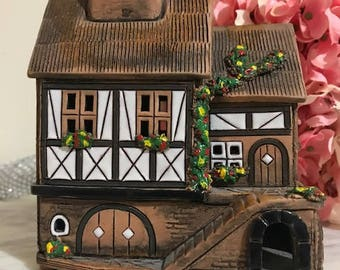 vintage Clay House Miniature German Inspired House Hand made