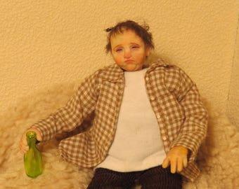 OOAK Miniature Adult Doll Pub Handmade Sculpt Dolls House Artist