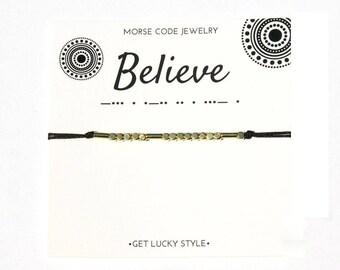 Believe morse code bracelet Believe  bracelet Morse code Bracelet Believe Christmas gift Inspritional bracelet