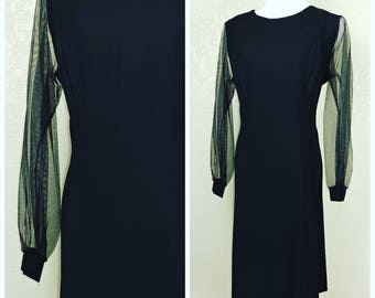 Vintage Black Dress with Chiffon Sleeves