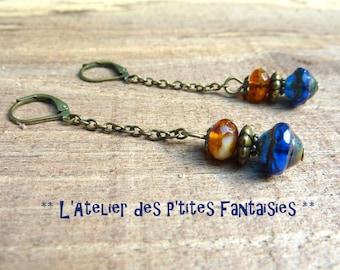 Earrings blue, Czech glass beads, vintage style.