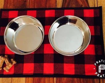 READY / dog food bowl placemat / Lumberjacks / lumberjack / doily for dog food
