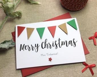 Personalised Merry Christmas Bunting Card - Handmade Christmas Card - Merry Christmas  Card