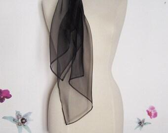 Wedding party evening shawl stole chic organza translucent transparent shiny iridescent black